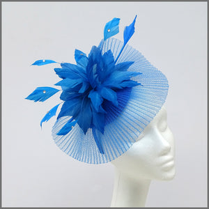 Marine Blue Occasion Fascinator with Feather Flower