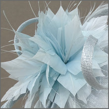 Load image into Gallery viewer, Mini Hatinator with Feather Flower in Peppermint Blue