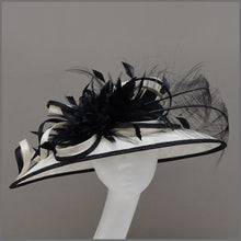 Load image into Gallery viewer, Mother of the Bride Hat in Black & Ivory
