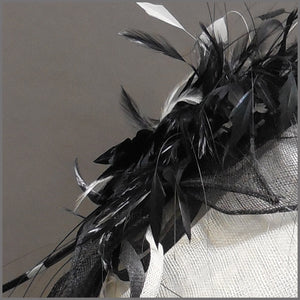 Mother of the Bride Disc Fascinator in Black & White
