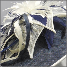 Load image into Gallery viewer, Mother of the Bride Feather Hatinator in Navy & Ivory