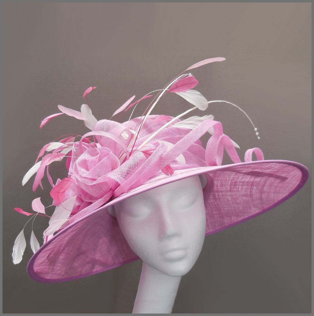 Mother of the Bride Feather Wedding Hat in Candy Pink & White