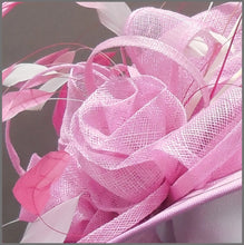 Load image into Gallery viewer, Mother of the Bride Floral Wedding Hat in Candy Pink & White