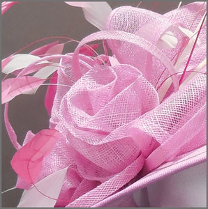Mother of the Bride Floral Wedding Hat in Candy Pink & White