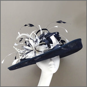 Mother of the Bride Hat in Navy Blue & White