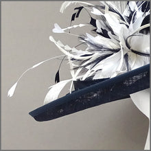 Load image into Gallery viewer, Mother of the Bride Hat in Navy Blue & White