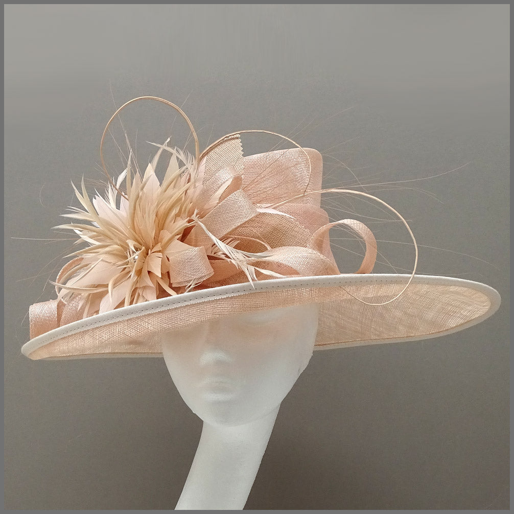 Mother of the Bride Wedding Hat in Nude Blush Pink