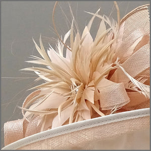 Feather Wedding Hat in Nude Blush Pink