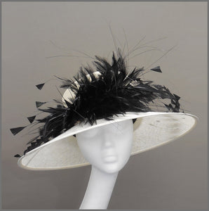 Mother of the Bride Wedding Hat in Ivory & Black