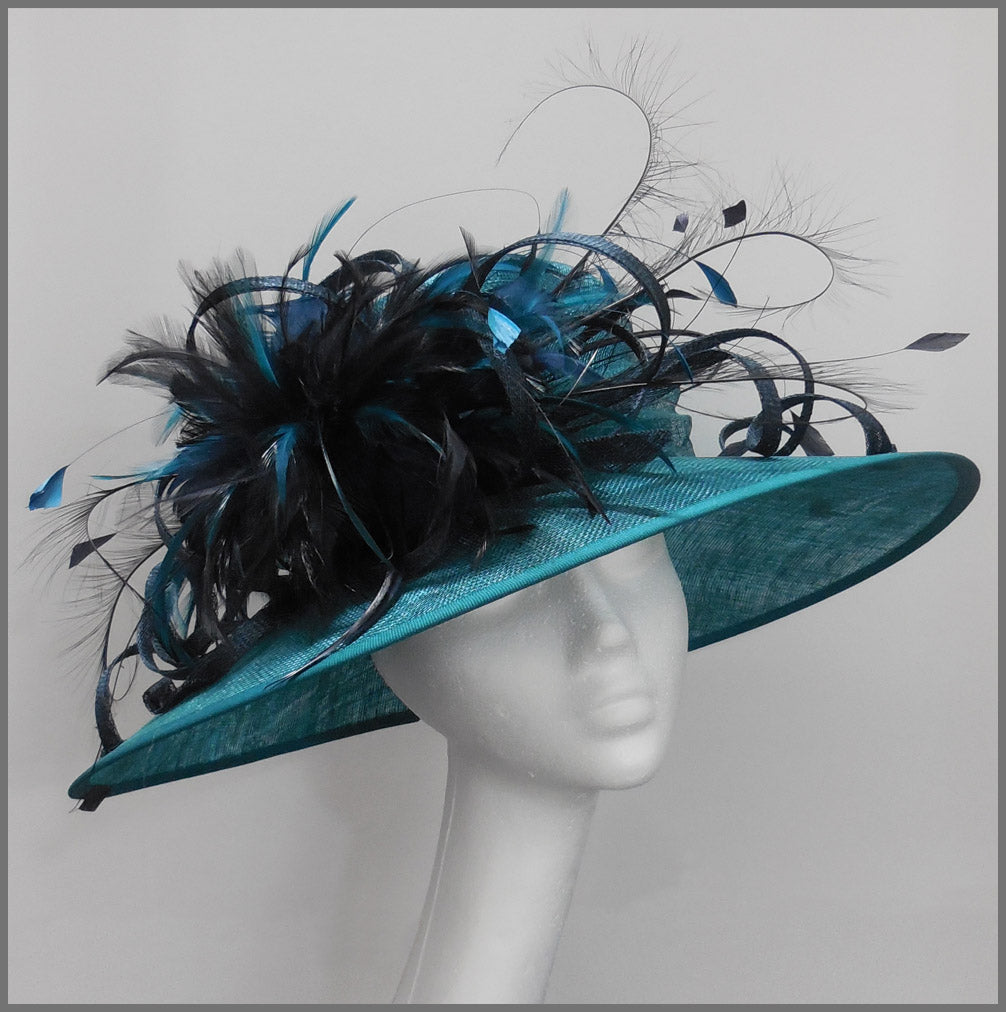 Mother of the Bride Wedding Hat in Navy & Teal