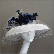 Load image into Gallery viewer, Mother of the Bride Wedding Hat in Silver Grey & Navy