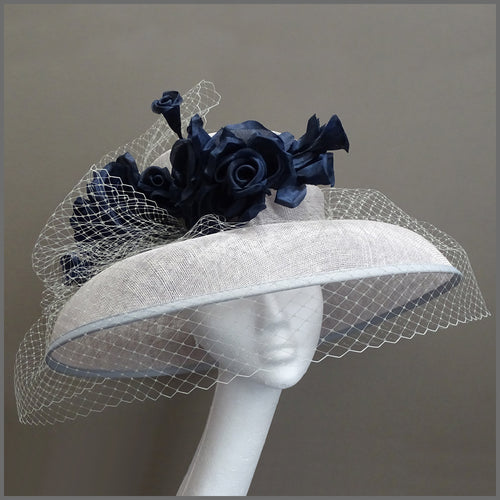 Mother of the Bride Wedding Hat in Silver Grey & Navy