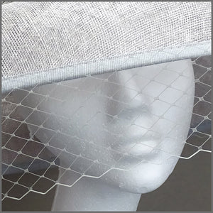 Wedding Hat with Netting in Silver Grey & Navy
