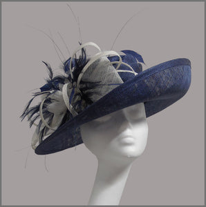 Mother of the Bride Wedding Hat in Navy & White
