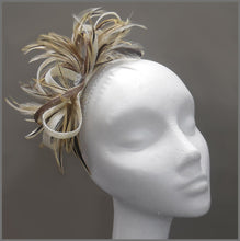 Load image into Gallery viewer, Natural Feather & Sinamay Occasion Fascinator