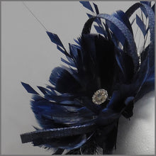 Load image into Gallery viewer, Navy Blue Sinamay & Feather Occasion Headpiece