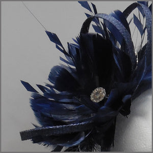 Navy Blue Sinamay & Feather Occasion Headpiece