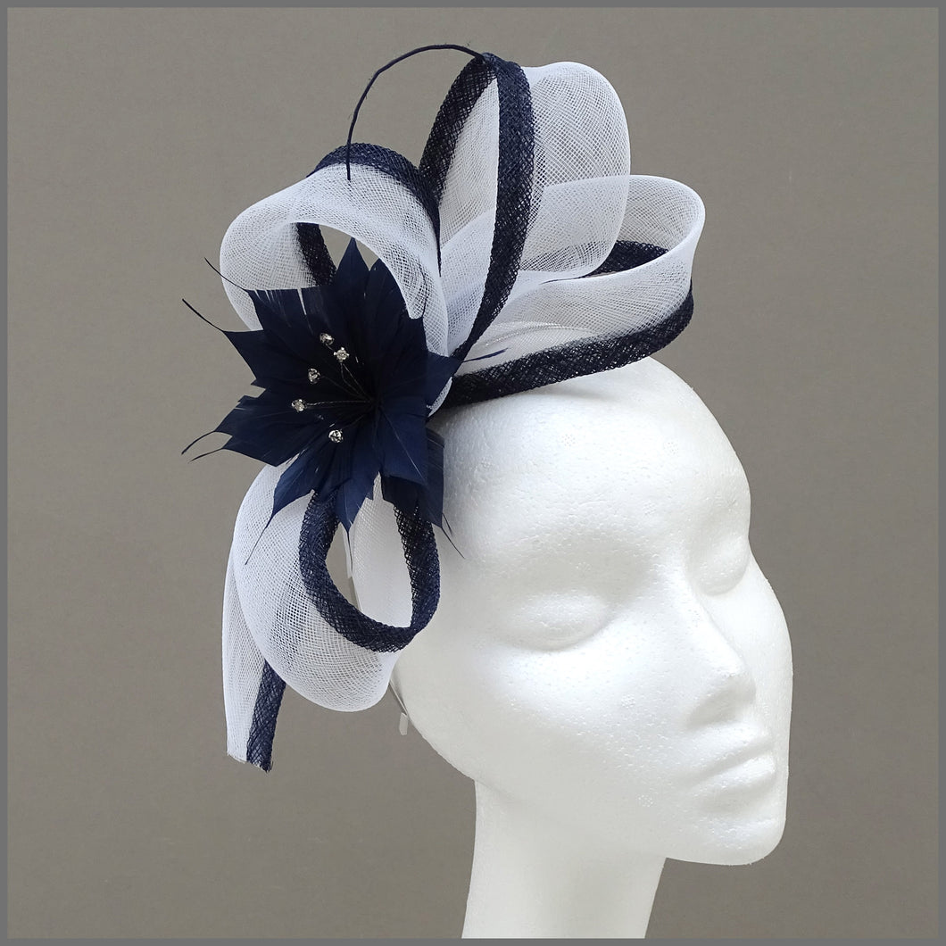 Navy Blue & White Flower Special Occasion Fascinator on Headband