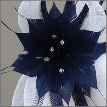 Load image into Gallery viewer, Navy Blue & White Flower Special Occasion Fascinator with Diamanté