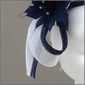 Navy Blue & White Flower Wedding Guest Fascinator