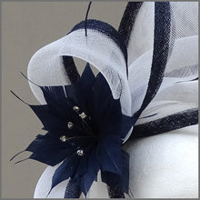 Load image into Gallery viewer, Navy Blue & White Flower Race Day Fascinator on Headband