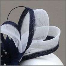 Load image into Gallery viewer, Navy Blue & White Feather Flower Crinoline Fascinator