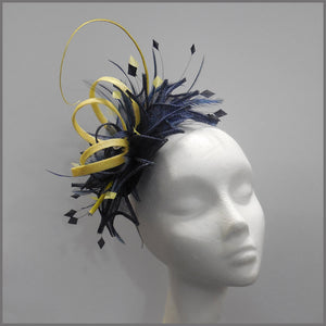 Navy & Lemon Sinamay Feather Wedding Fascinator