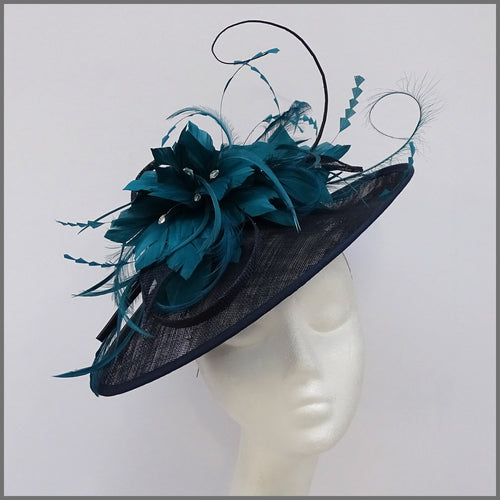 Navy & Teal Green Feather Hatinator for Wedding
