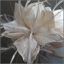 Load image into Gallery viewer, Nude Floral Feather Special Occasion Headpiece