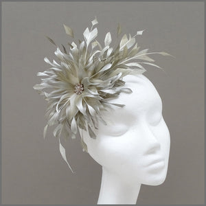 Occasion Feather Fascinator in Champagne Gold for Wedding