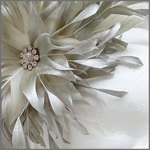 Occasion Feather Fascinator in Champagne Gold for Formal Event