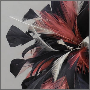 Occasion Feather Fascinator Dark Navy & Coral