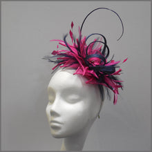 Load image into Gallery viewer, Occasion Feather Fascinator in Fuschia Pink & Navy