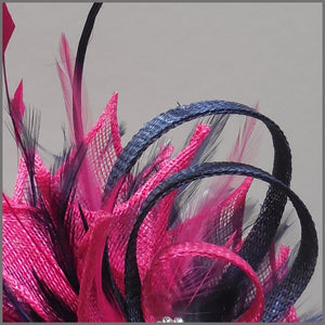 Occasion Feather Fascinator in Fuschia Pink & Navy