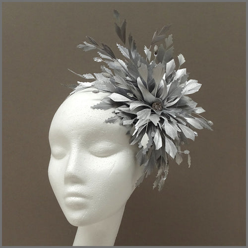 Occasion Feather Fascinator in Metallic Silver for Wedding