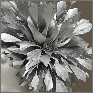 Occasion Feather Fascinator in Metallic Silver for Formal Event