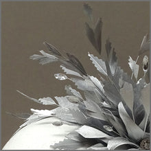 Load image into Gallery viewer, Occasion Feather Fascinator in Metallic Silver on Headband