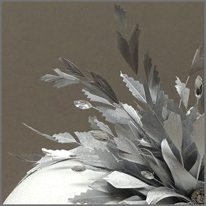 Occasion Feather Fascinator in Metallic Silver on Headband