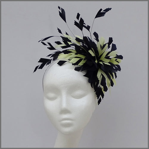 Occasion Feather Fascinator in Navy & Lemon