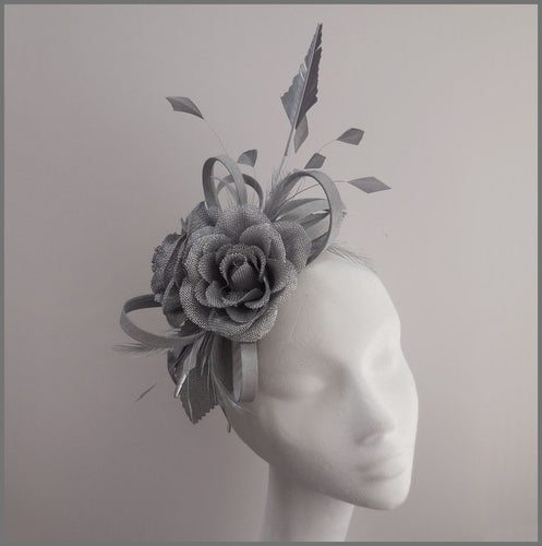 Occasion Flower Feather Fascinator in Silver