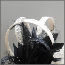 Load image into Gallery viewer, Oyster & Black Wedding Disc Fascinator