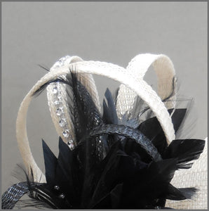 Oyster & Black Wedding Disc Fascinator
