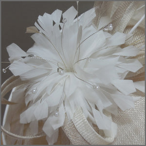 Oyster & White Feather Hatinator for Wedding