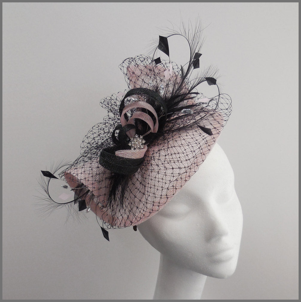 Pale Pink & Black Disc Fascinator for Ladies Day