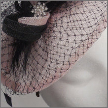 Load image into Gallery viewer, Pale Pink & Black Disc Fascinator with Netting