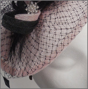 Pale Pink & Black Disc Fascinator with Netting