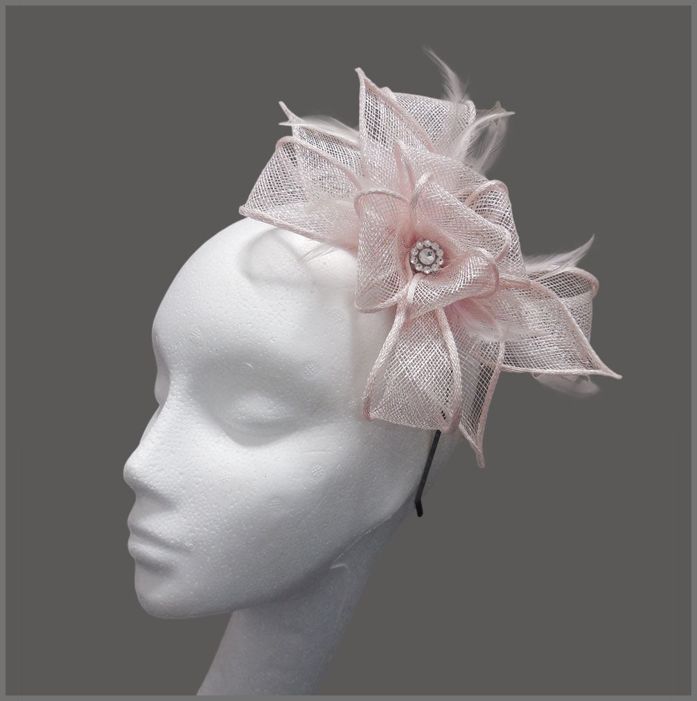 Pale Pink Wedding Guest Fascinator on Headband