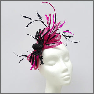 Fuchsia Pink & Black Halloween Fascinator with Large Spider