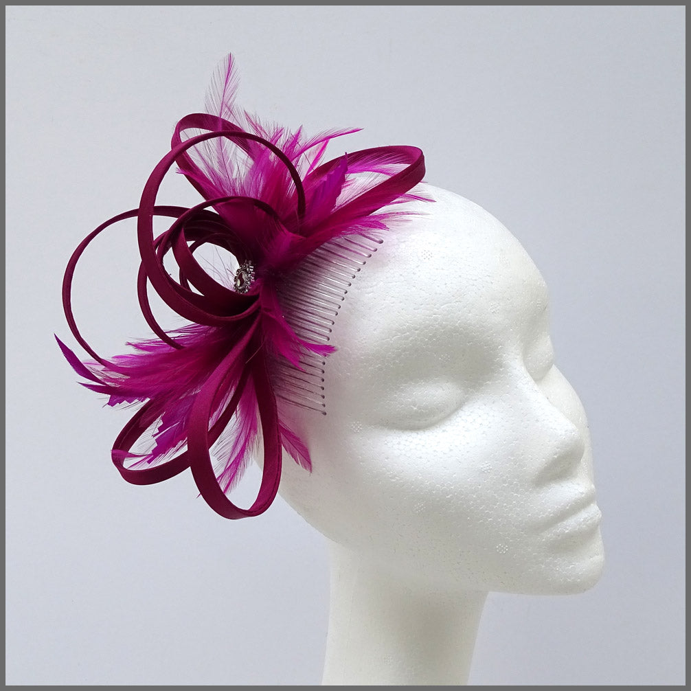 Pretty Magenta Special Occasion Fascinator with Feathers