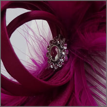 Load image into Gallery viewer, Pretty Magenta Occasion Fascinator with Diamanté
